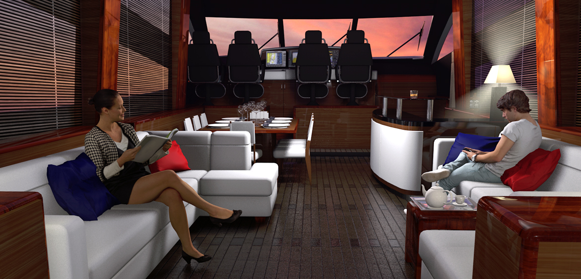 Interior yacht scene by Studio Mitchell