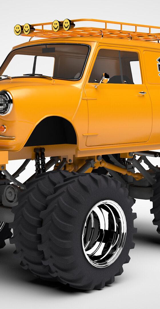 3D automotive monster mini van